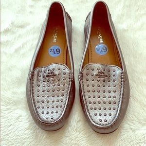 Coach Metallic Silver Orlene Studded Loafer/Driver